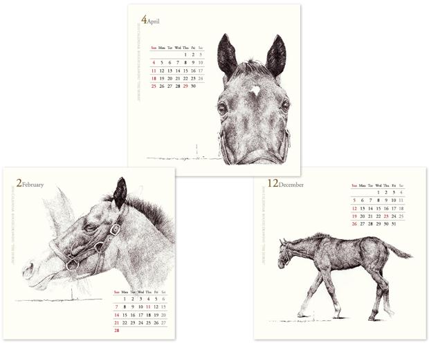 """長瀬智之氏のラフドローイングカレンダー """"THE HORSE"""""""